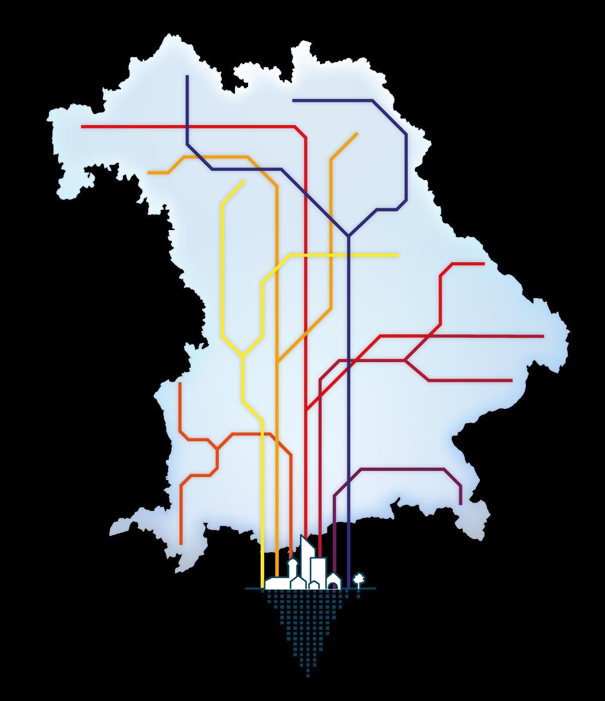 Landkarte Bayern mit Energienetz
